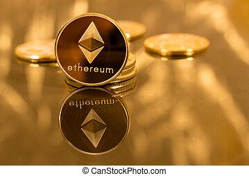pile, pièces, fond, or, ethereum