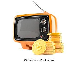 pile, pièces, vieux, ensemble télé