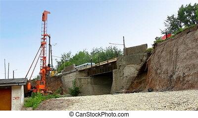 pile rig repair bridge over rail road