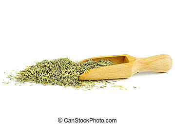 Pile rosemary with wooden scoop isolated on white background