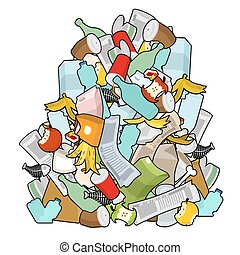 Pile Rubbish. Garbage heap isolated. Stack trash. litter ...