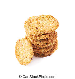 Pile stack of oatmeal cookies isolated