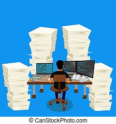 pile stack of papers, business environment, vector illustration
