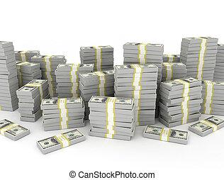 pile, sur, dollar, fond blanc