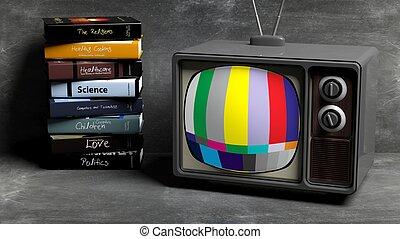 pile, tableau noir, 3d, ensemble, rendre, tv, livres, antiquité, arrière-plan.