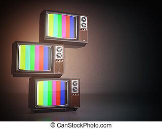 pile, tv, vendange, set., tã©lã©viseur, arrière-plan.