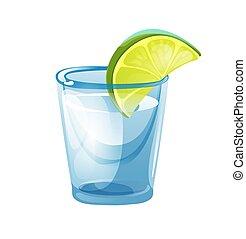 pile, verre, chaux, coup, tequila, couper
