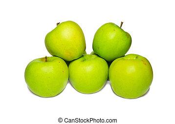 pile, vert, isolé, white., pommes