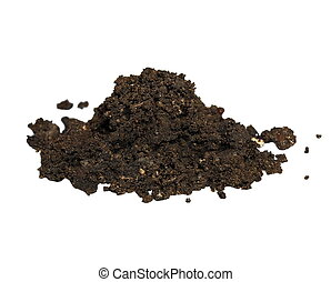 pile wet dirt isolated on white