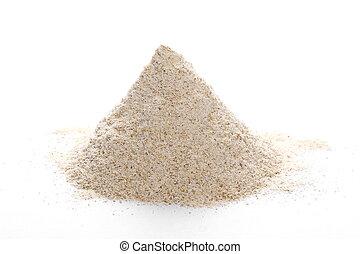 pile whole grain barley flour isolated on white background
