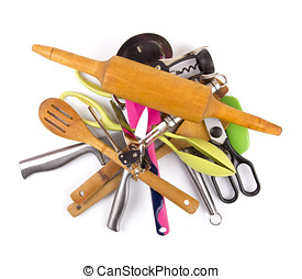 pile with kitchen utensils on a white background