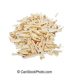 Pile wood shavings background isolated on white