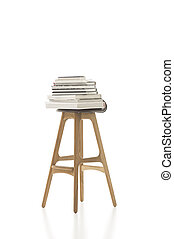 Piled Books on Top of Tall Single Chair