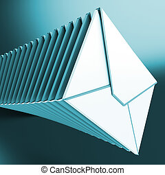 Piled Envelopes Shows Inbox Messages On Computer - Piled...