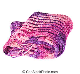 piled knitted scarf on a white background