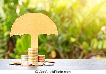 piles, concept, tone., ou, coins.yellow, protection, assurance assurance