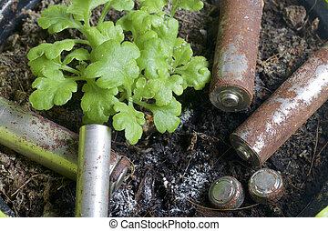 piles, de, corrosion, de, divers, formes, et, sizes., ils, mensonge, terre, côté, a, croissant, vert, plant., protection environnement, recyclage, de, utilisé, batteries.