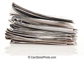 piles, de, vieux, journaux, et, magazines