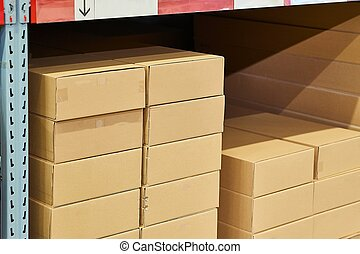 piles, entrepôt, stocké, boîtes