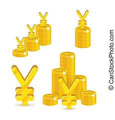 Piles gold Chinese yuan or Japanese yen isolated cartoon set