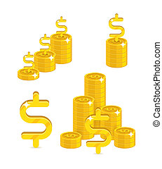 Piles gold dollars isolated cartoon set. A lot of stacks and...