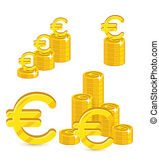 Piles gold euro isolated cartoon set. A lot of stacks and...