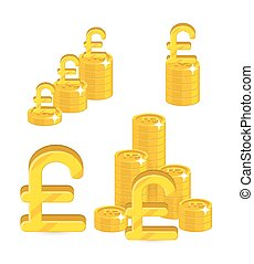 Piles gold pounds isolated cartoon set. A lot of stacks and...