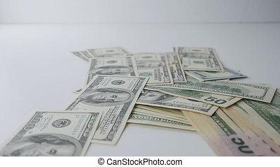 piles., lent, argent, mouvement, tomber, table.
