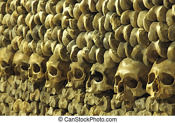 piles of bones an skulls inside Les Catacombes, Paris