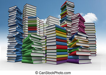 Piles of books against sky