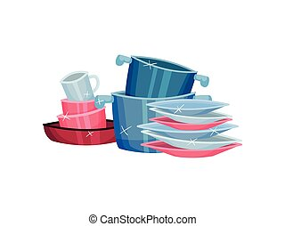 Piles of clean pots, cups and plates. Vector illustration on white background.