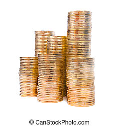 Piles of coins