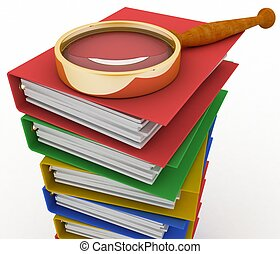 Piles of colored office ring binders with magnifying glass