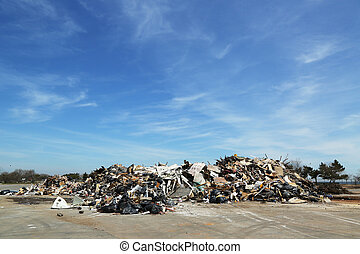 Piles of debris after Storm Sandy