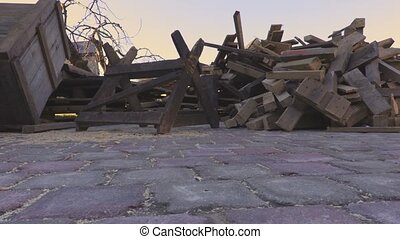 Piles of firewood in yard