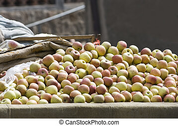 Piles of Fresh apples for sale