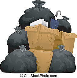 Piles of Garbage - Illustration of Garbage piles
