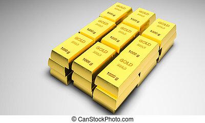 gold bullion. 3D rendering - piles of gold bullion. 3D...