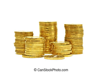 Piles of golden coins (isolated) - Piles of golden coins...