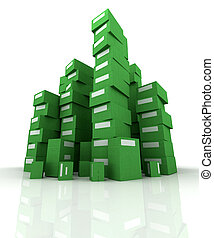 Piles of green packages