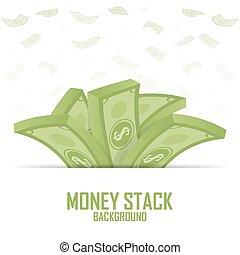 Piles of money stack, cash dollar on white, vector illustration