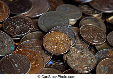 Piles of Nepal Rupee Coins - Piles of golden colored Nepal ...