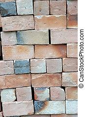piles of new bricks unused
