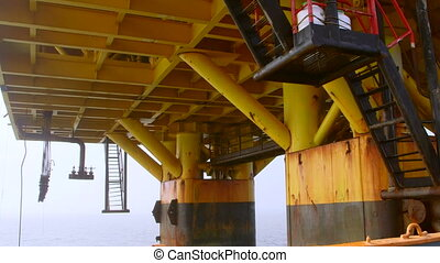 Piles of offshore fixed gas and oil production platform