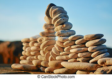 Piles of pebbles