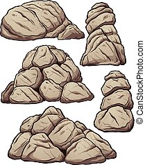 Piles of rocks. Vector clip art illustration with simple ...
