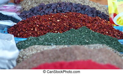 Piles of Seeds, Spices and Grains - Steady, medium close up...