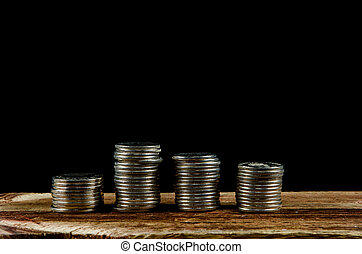 Piles of silver coins