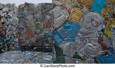 Piles Of Scrap Metal Bundled in Bales for Recycling. Metal Scrapyard Background