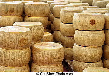 piles of wheels of cheese